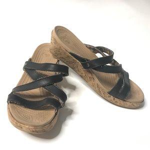 Crocs A-Leigh Mini Leather Wedge Slides Sandals
